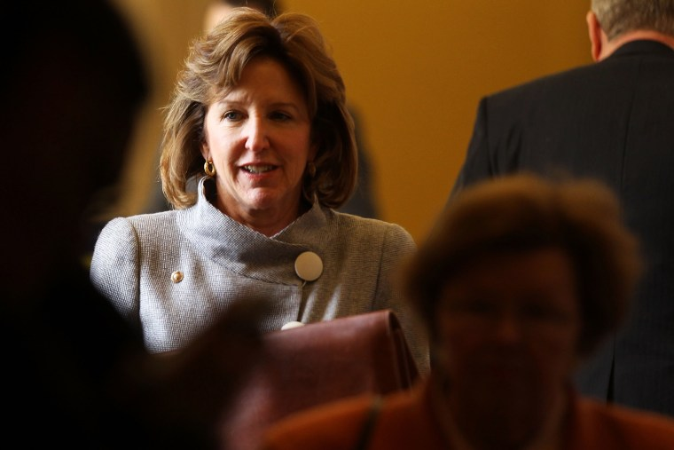 U.S. Sen. Kay Hagan (D-NC) comes out from the weekly policy luncheon October 4, 2011.