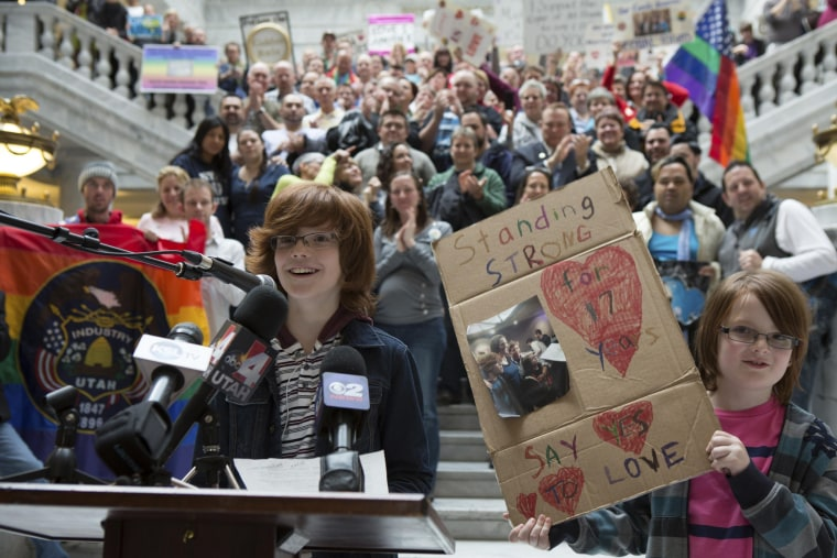 Brothers Riley (L) and Casey Hackford-Peer speak during a rally supporting same-sex marriage at the Utah state capitol in Salt Lake City, Utah January 9, 2014.