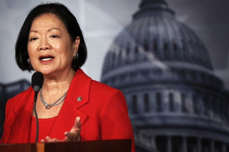 U.S. Sen. Mazie Hirono (D-HI) speaks during a news conference on debt ceiling increases, Oct. 29, 2013.