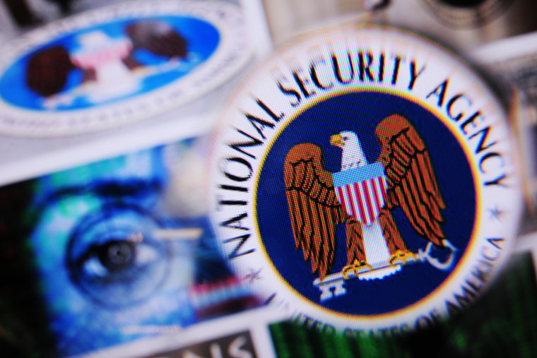 The logo of the US National Security Agency is pictured on a monitor.