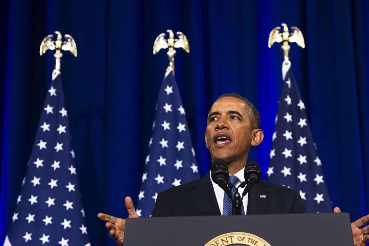 Obama speaks about NSA surveillance techniques, Jan. 17, 2014.