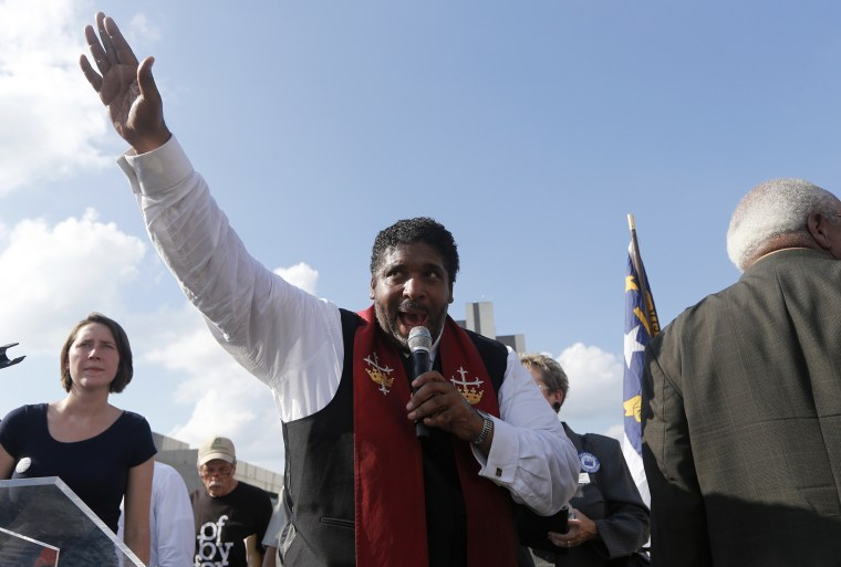 """The Rev. William Barber speaks during """"Moral Monday"""" protests on Halifax Mall, July 22, 2013, in Raleigh, N.C."""