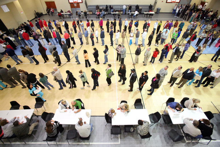 Voters wait in line at the Bobby Miller Activity Center in Tuscaloosa, Ala., Tuesday, Nov. 6, 2012.