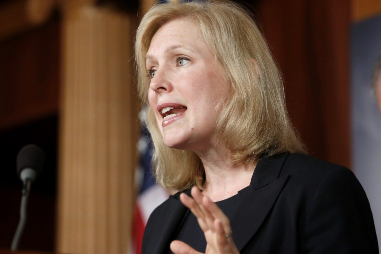 Sen. Kirsten Gillibrand, D-N.Y., speaks to reporters during a news conference, July 16, 2013, in Washington.