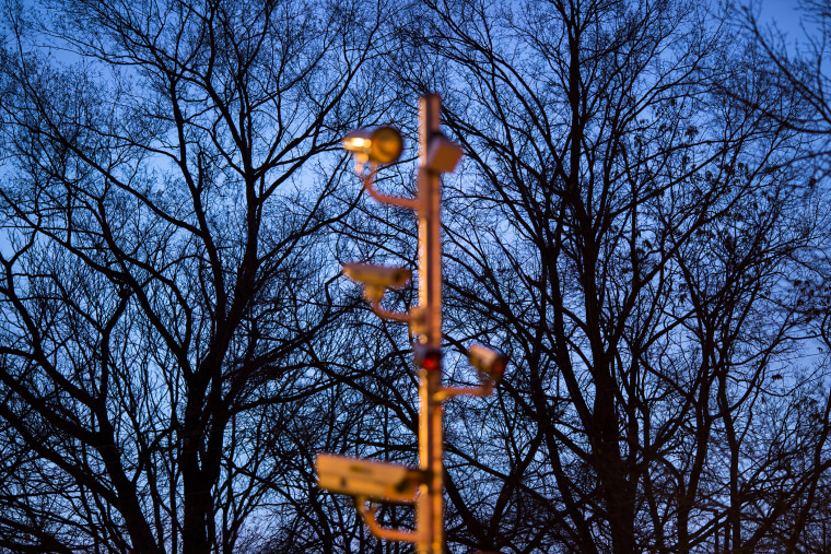 A camera tree used to photograph vehicles that are speeding, or that run a red light, glows at dawn in front of a cluster of real trees along Military Road, Dec. 20, 2013 in Washington, D.C.