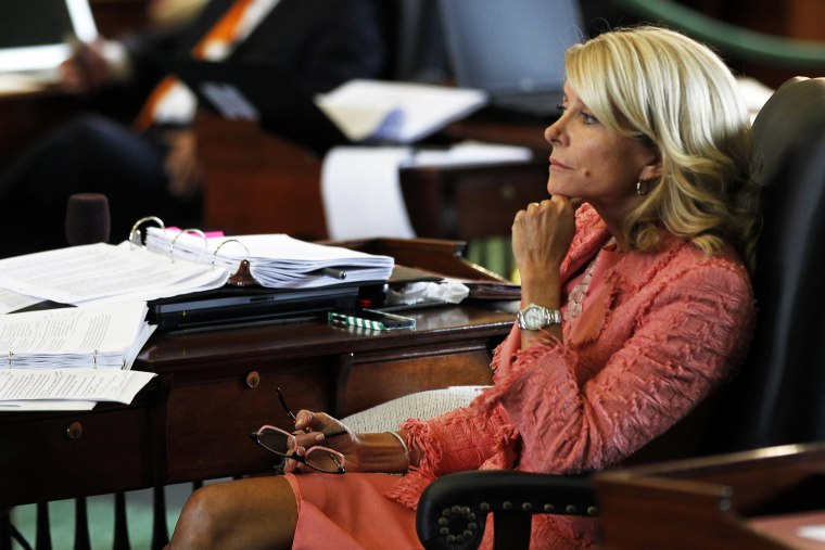 Wendy Davis listens to discussion of the Senate Bill 1 in Austin, Texas, July 12, 2013.
