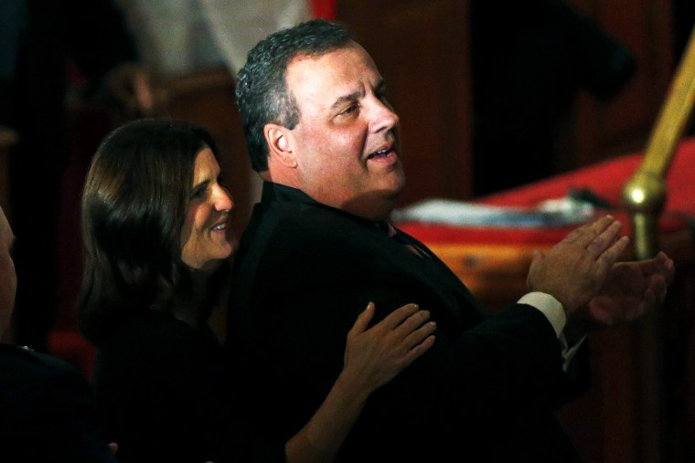Chris Christie and his wife Mary Pat attend a prayer service in celebration of his inauguration, Jan. 21, 2014.