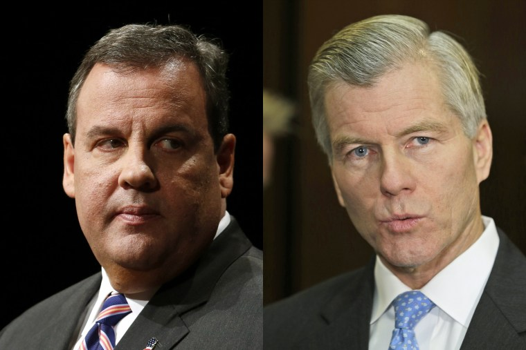 Left, New Jersey Governor Chris Christie at the War Memorial in Trenton, New Jersey, January 21, 2014. Right, former Virginia Governor Bob McDonnell at the Capitol in Richmond, Va., Monday, Dec. 16, 2013.