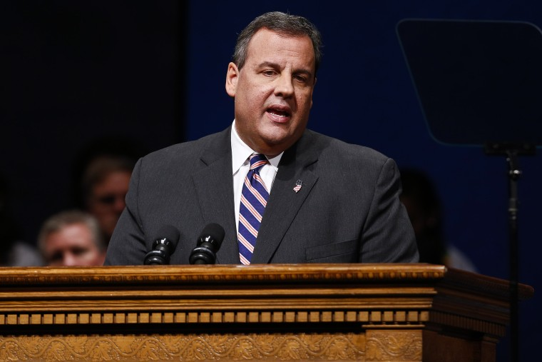 Chris Christie speaks after being sworn in for his second term on January 21, 2014.
