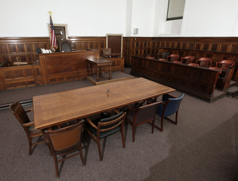 A view of the table, where the plaintiff and defendant will sit at and look towards the judge's chair (rear L), the witness stand (rear R), stenographer's desk (rear C) and jury box (R) in court room 422 of the New York Supreme Court at 60 Centre Street F