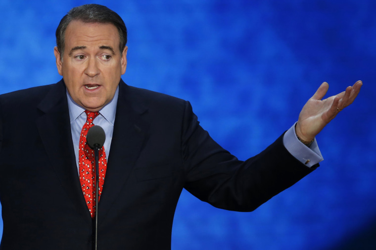 Former Arkansas Governor and former Republican presidential candidate Mike Huckabee addresses supporters during the third session of the 2012 Republican National Convention in Tampa