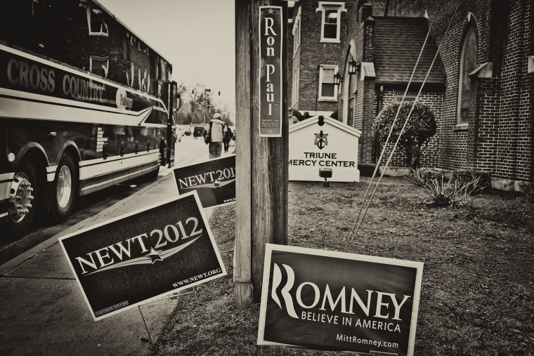 Campaign signs are seen in Greenville, South Carolina, during the 2012 Republican Primaries, Jan. 21, 2012.