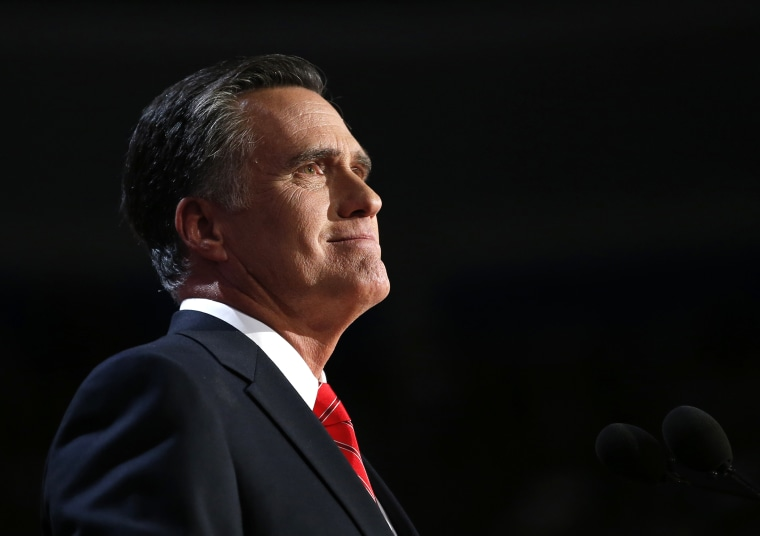 Former Republican presidential nominee Mitt Romney speaks at the Republican National Convention in Tampa, Fla., Aug. 30, 2012.