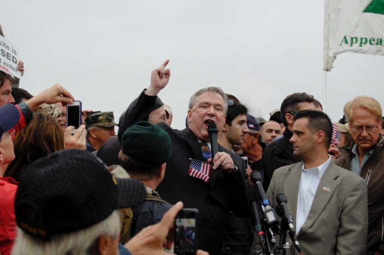 Congressman Steve Stockman, R-Texas, addresses protesters at the World War II Memorial in Washington, D.C., October 13, 2013.