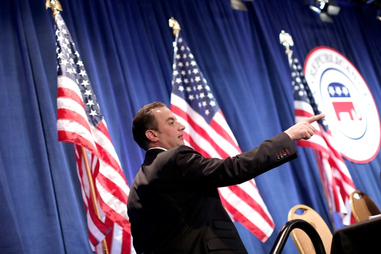 Republican National Committee Chairman Reince Priebus directs the annual RNC winter meeting Jan. 24, 2014 in Washington, DC.
