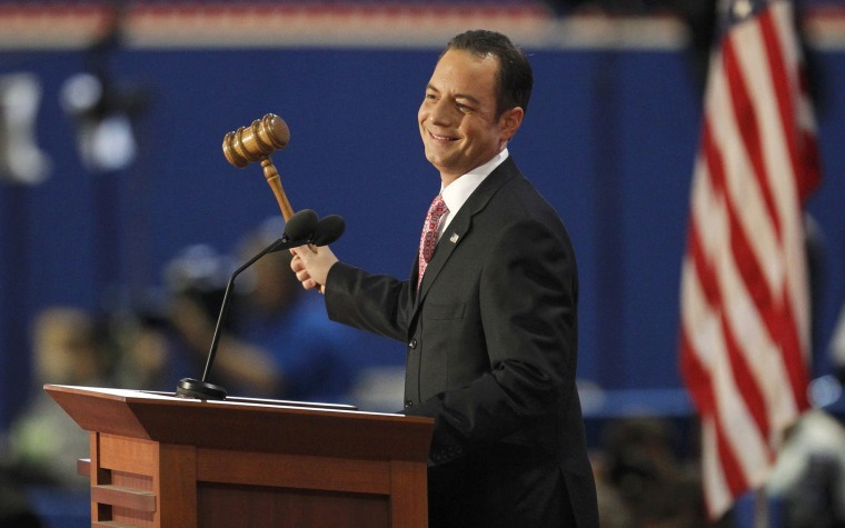 Republican National Committee Chairman Reince Priebus gavels the 2012 Republican National Convention into session during the opening session of the Republican National Convention in Tampa, Florida August 27, 2012.