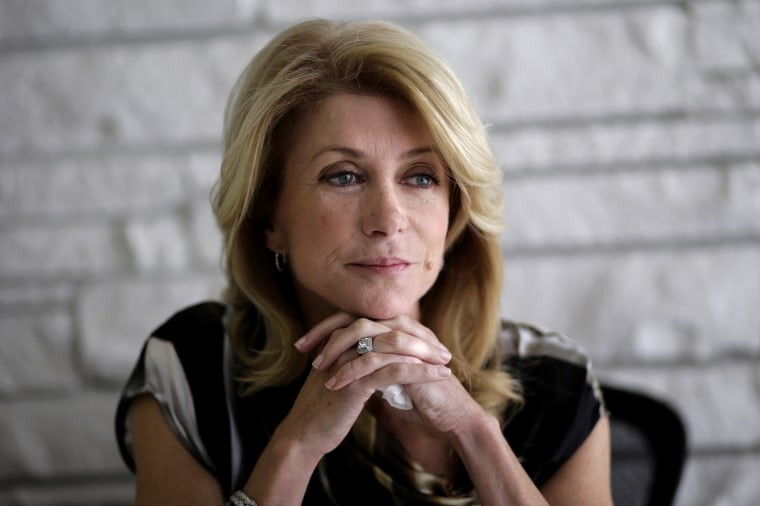 Democratic candidate for Texas governor Wendy Davis takes part in a interview, Jan. 21, 2014, in Austin, Texas.