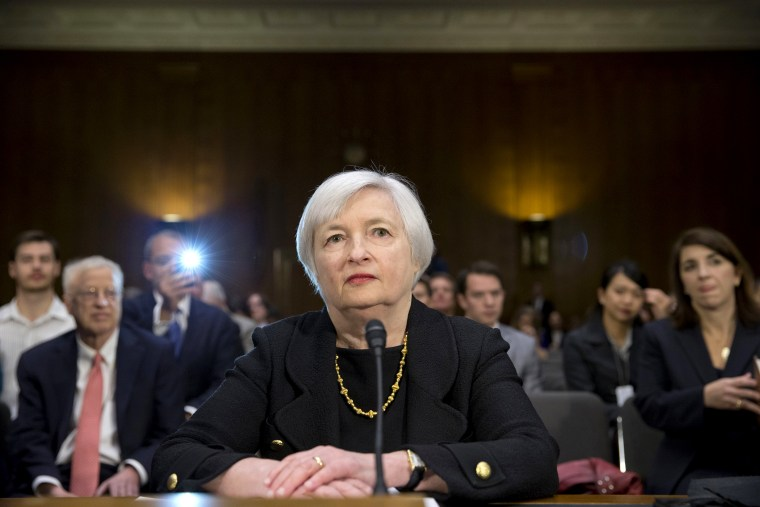 Janet Yellen, President Obama's nominee to succeed Ben Bernanke as Federal Reserve chairman, testifies at her confirmation hearing, Nov. 14, 2013, on Capitol Hill in Washington.