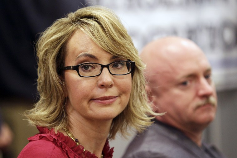 Gabrielle Giffords takes part in a news conference in Manchester, N.H., July 5, 2013.