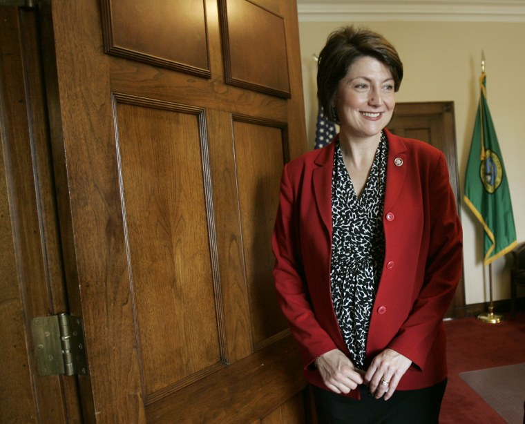 Congresswoman Rep. Cathy McMorris Rodgers, R-Wash., is seen in her Capitol Hill office, Wednesday, April 18, 2007.