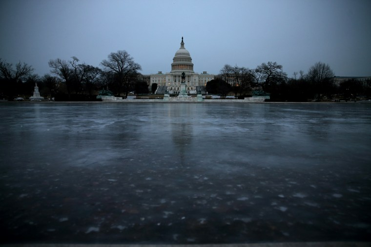 The Capitol Reflecting Pool is frozen in front of the U.S. Capitol on Jan. 28, 2014 in Washington, DC.