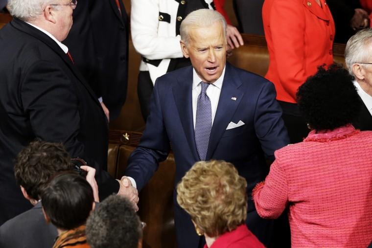 Vice President Joe Biden arrives the State of the Union address, Jan. 28, 2014.