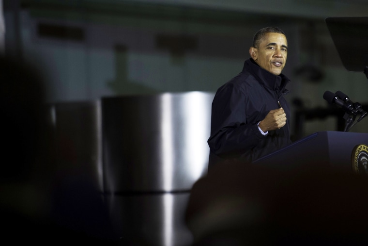 U.S. President Barack Obama speaks at the USX Irvin Works January 29, 2014 in West Mifflin, Pennsylvania.