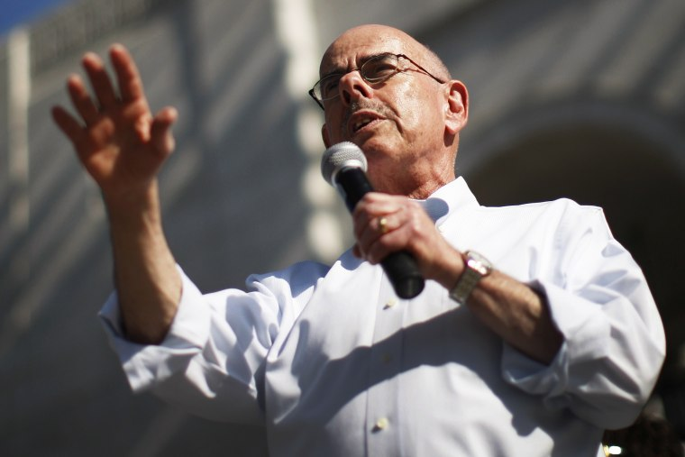 Rep. Henry Waxman speaks on the steps of City Hall in Los Angeles, California, Feb. 17, 2013.