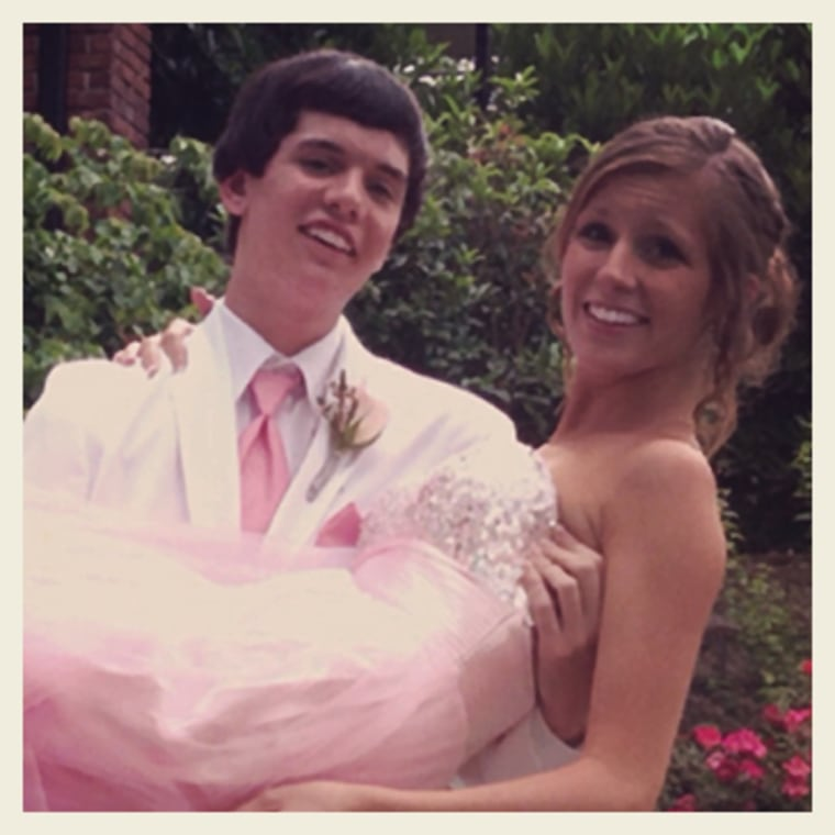 Brandon with his girlfriend, Sarah Pazyk, on prom night in May 2013.