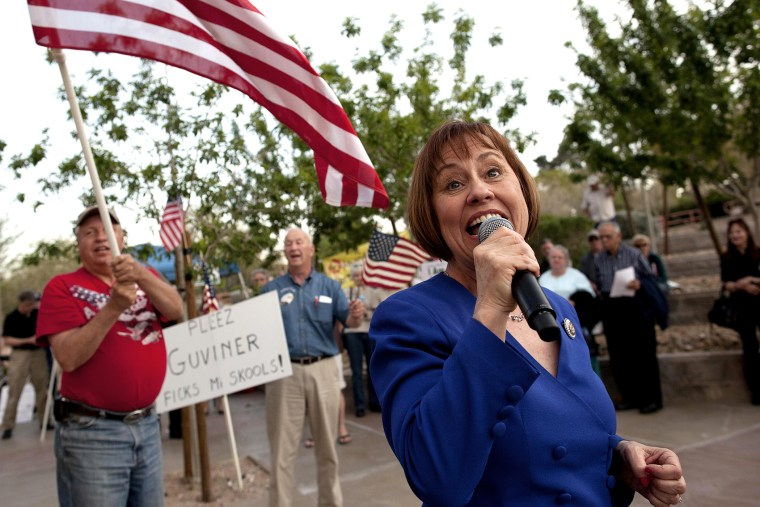 Sharron Angle, at a rally in Las Vegas on April 15, 2011.