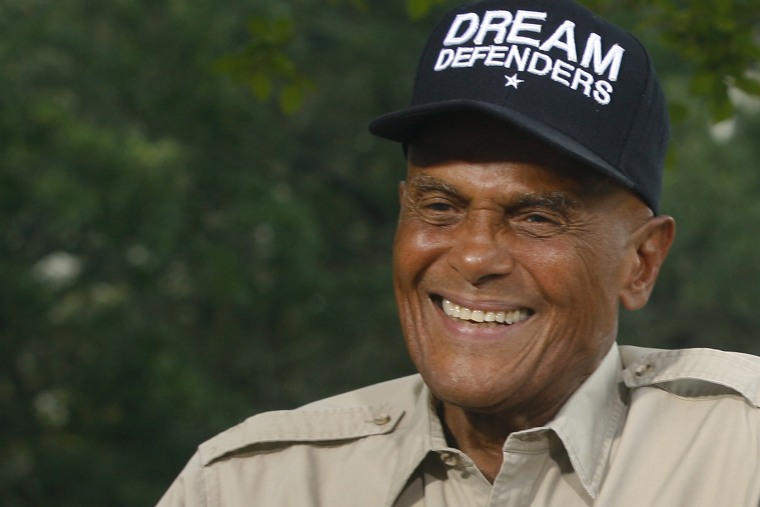 American singer, songwriter, actor and social activist Harry Belafonte, Jr. conducts an interview on July 26, 2013 outside the Florida Capitol in Tallahassee, Fla.
