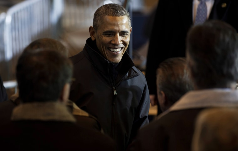 U.S. President Barack Obama greets people at the USX Irvin Works Jan. 29, 2014 in West Mifflin, Penn.