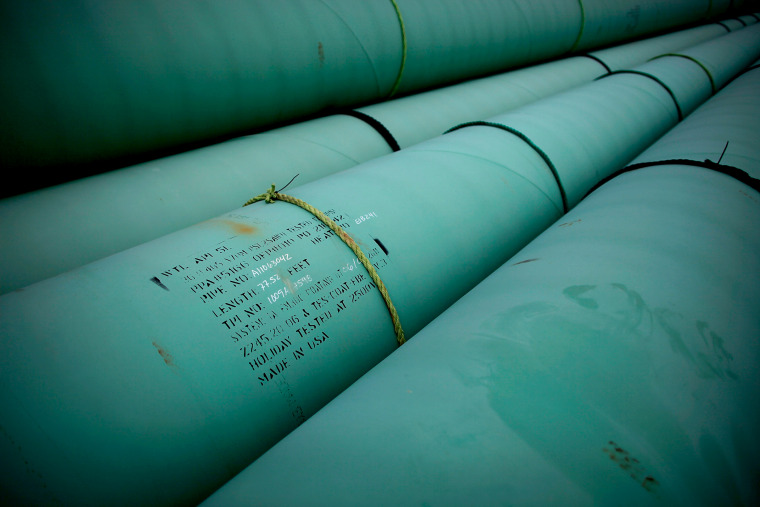 Pipe is stacked at the southern site of the Keystone XL pipeline in Cushing, Oklahoma., March 22, 2012.