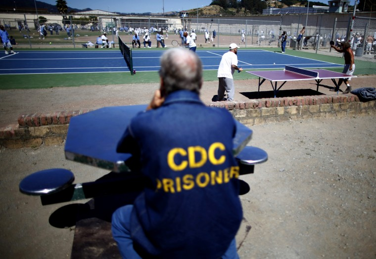 Inmates in the exercise yard at San Quentin state prison, June 8, 2012, in San Quentin, Calif.