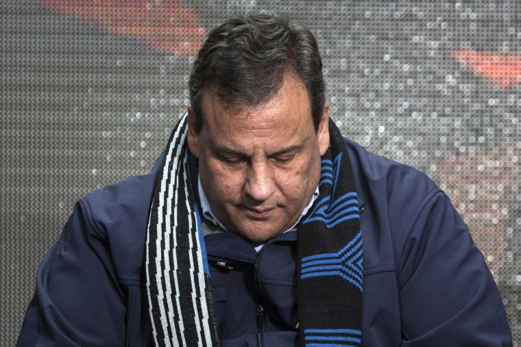 New Jersey Governor Chris Christie sits on stage during the Super Bowl ceremony in New York on Feb. 1, 2014.