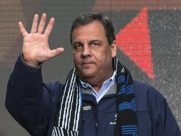 New Jersey Governor Chris Christie arrives on stage during the Super Bowl Hand-Off Ceremony in New York in this file photo taken February 1, 2014.