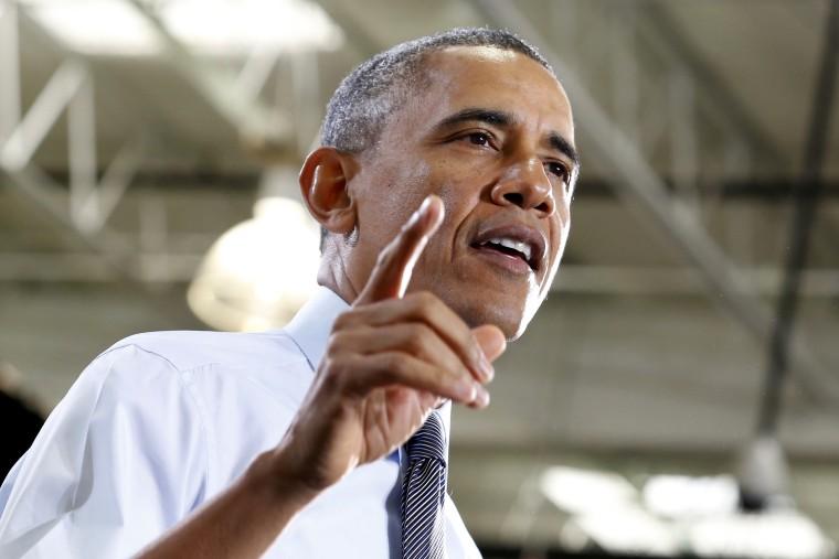 U.S. President Barack Obama delivers remarks on the economy in Lanham, Maryland on Jan. 29, 2014.