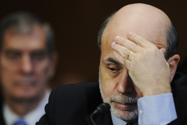 Ben Bernanke listens to testimony before the Senate Banking Committee hearing on oversight of Dodd-Frank Wall Street reform, May 12, 2011.