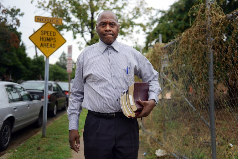 Cleveland Wright, 55, makes his way to the church he attends at Resurrection Church of God in Christ on Sunday, August 18, 2013, in Washington, DC.