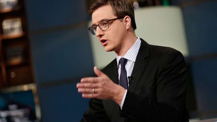 Chris Hayes on set.