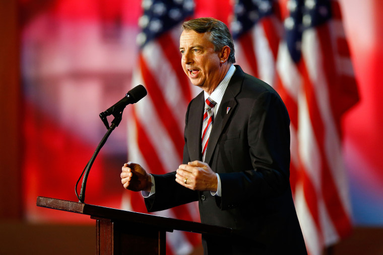 Ed Gillespie speaks to the crowd on stage during Mitt Romney's campaign election night event in Boston, Nov. 6, 2012.