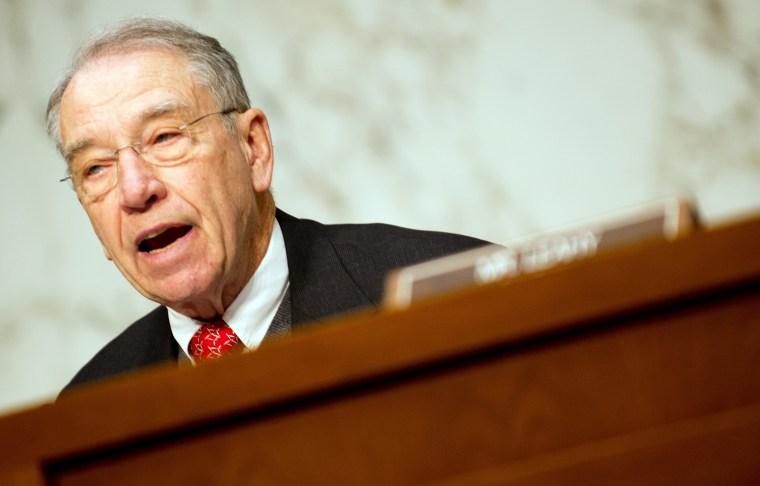 Senator Chuck Grassley, R-IA, on Capitol Hill in Washington, D.C., February 13, 2013.
