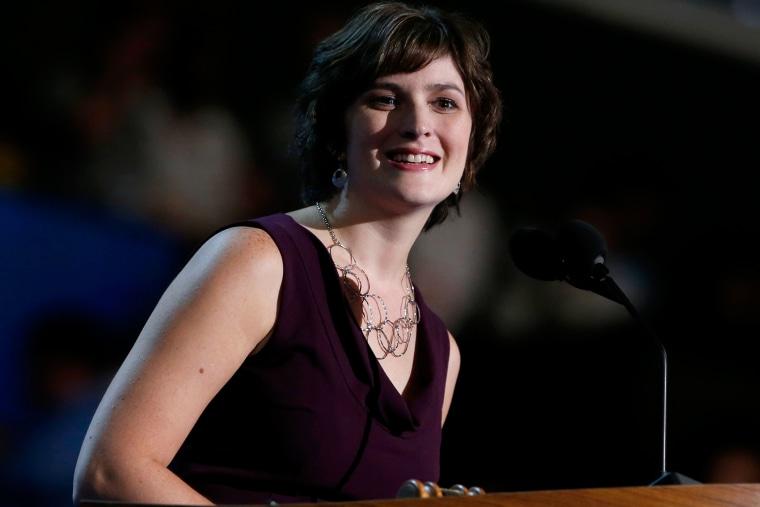 Sandra Fluke speaks at the Democratic National Convention in Charlotte, N.C. on Sept. 5, 2012.