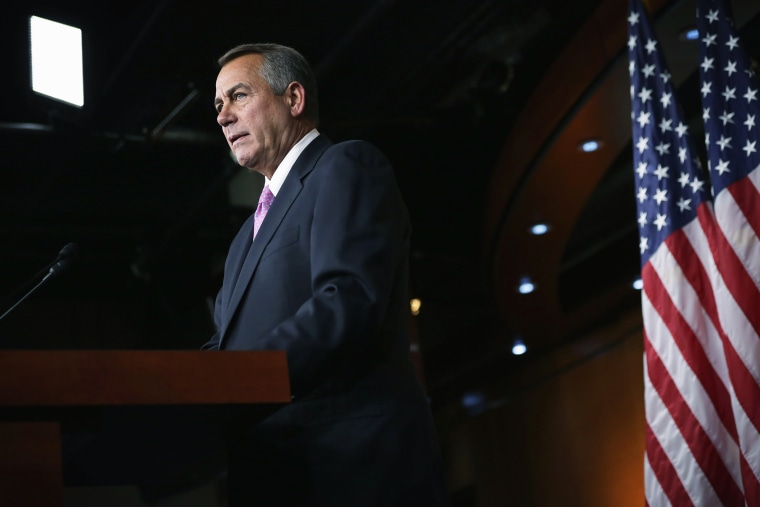 John Boehner Holds Media Briefing At The Capitol