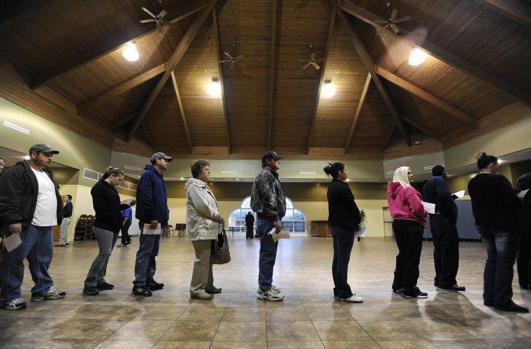 Voters line up to cast ballots in the general election, Nov. 6, 2012, in Bethlehem, Ga.