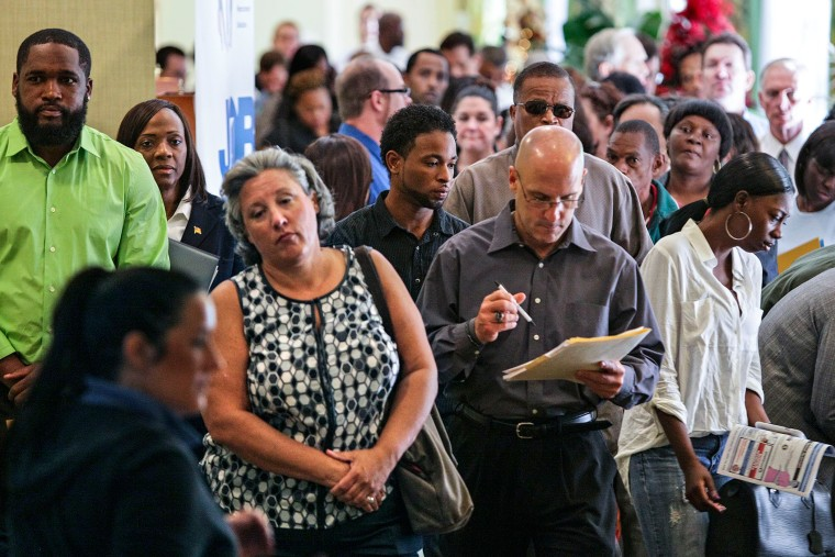 People line up for a job fair in West Palm Beach, Fla. on Dec. 3, 2013.