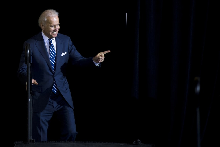 Vice President Joe Biden takes the stage for a news conference, Feb. 6, 2014, at 30th Street Station in Philadelphia.