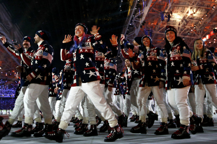 Delegation members of the U.S. parade during the opening ceremony of the 2014 Sochi Winter Olympic Games at Fisht stadium February 7,  2014.