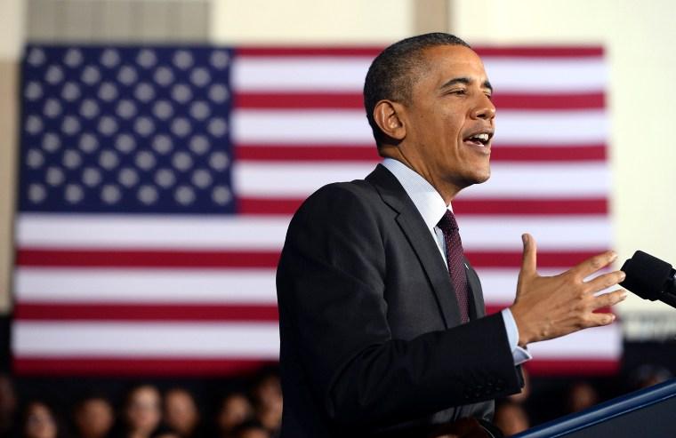 President Barack Obama speaks at an event, Feb. 4, 2014, in Adelphi, Md.