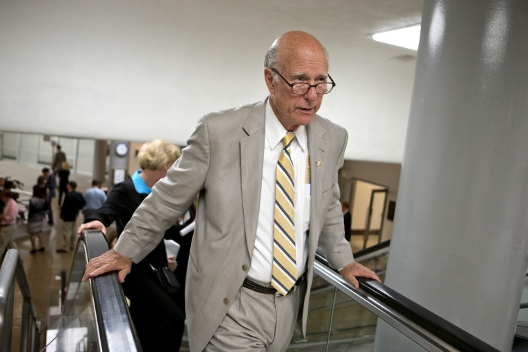 Sen. Pat Roberts, R-Kan., July 10, 2013 on Capitol Hill in Washington.